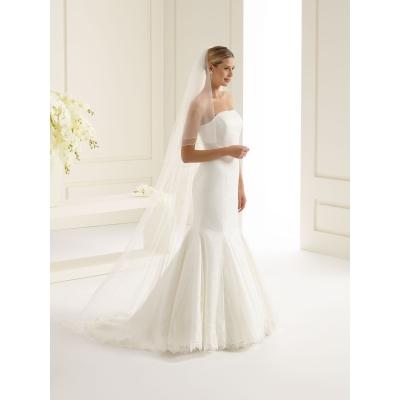 Elegante 2-laagse bruidssluier met lockrand 80/220